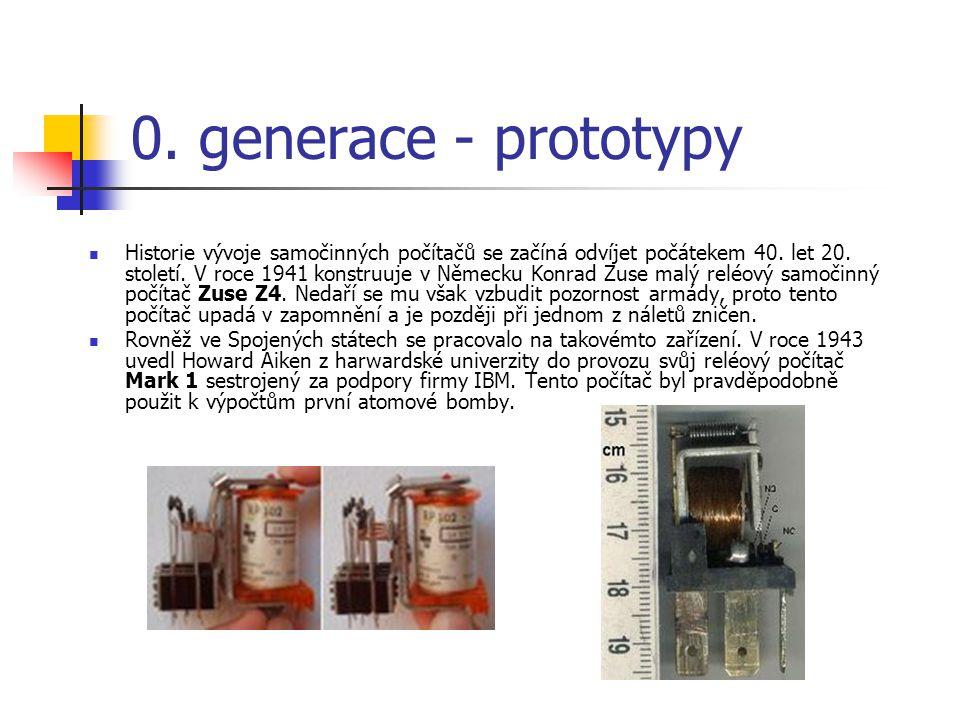 0. generace - prototypy Historie vývoje samočinných počítačů se začíná odvíjet počátekem 40. let 20. století. V roce 1941 konstruuje v Německu Konrad