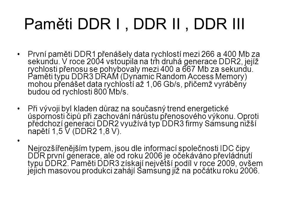 První paměti DDR1 přenášely data rychlostí mezi 266 a 400 Mb za sekundu. V roce 2004 vstoupila na trh druhá generace DDR2, jejíž rychlosti přenosu se