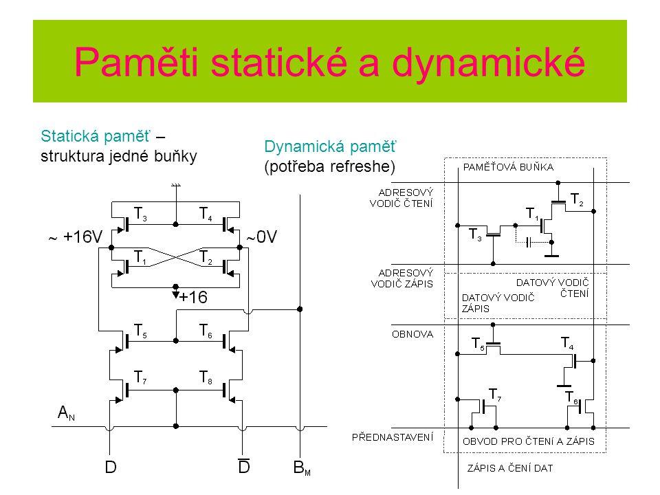 Paměti statické a dynamické Statická paměť – struktura jedné buňky Dynamická paměť (potřeba refreshe)