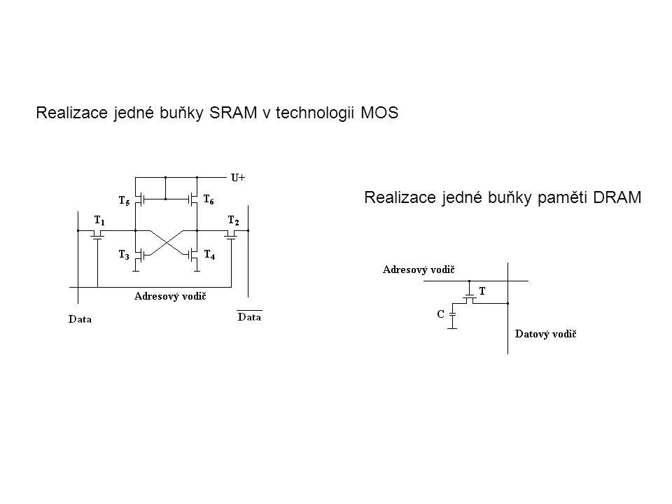 Realizace jedné buňky paměti DRAM Realizace jedné buňky SRAM v technologii MOS