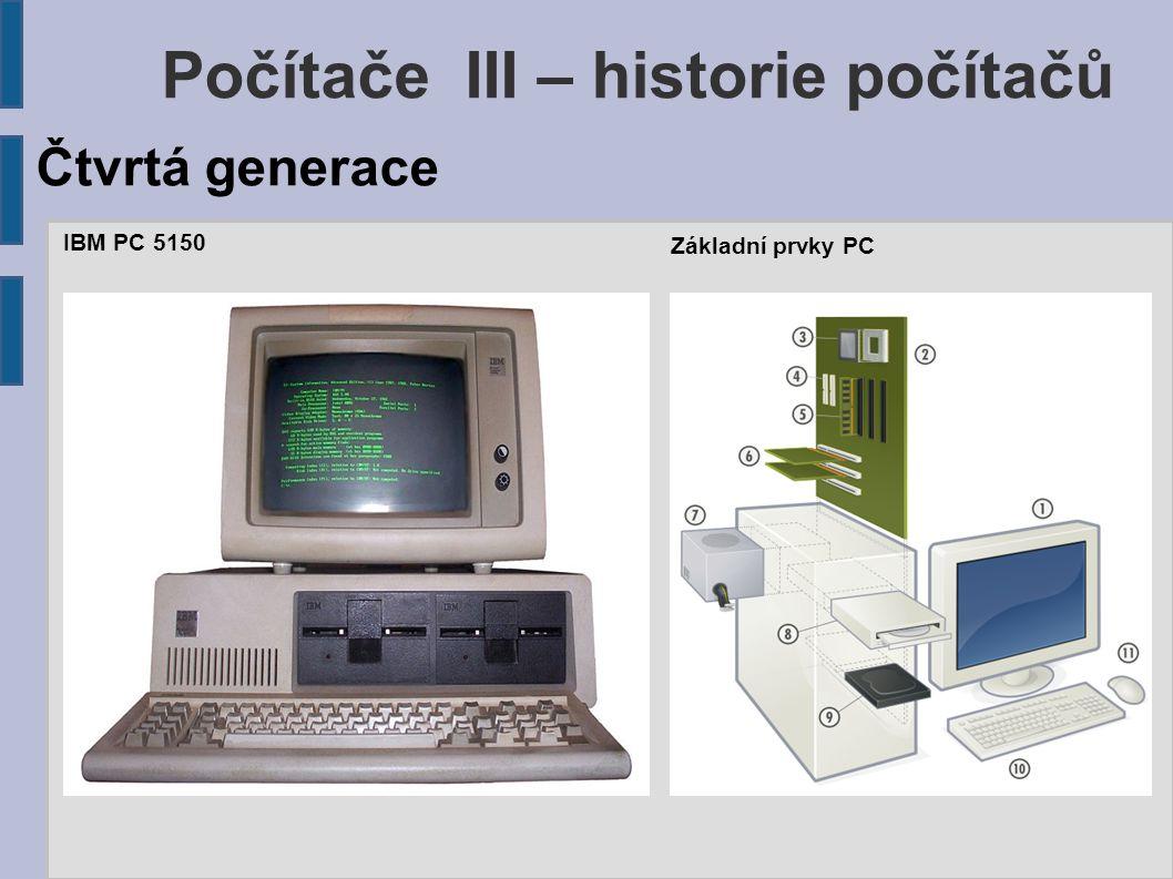IBM PC 5150 Čtvrtá generace Počítače III – historie počítačů Základní prvky PC
