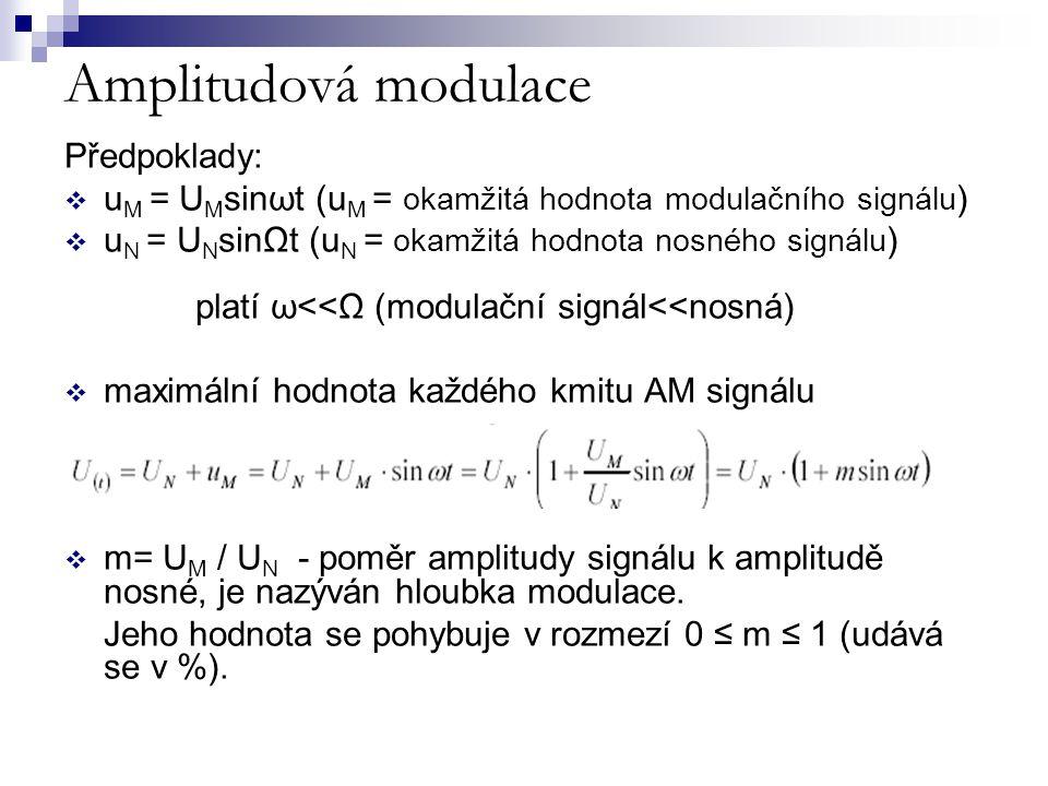 Amplitudová modulace Předpoklady:  u M = U M sinωt (u M = okamžitá hodnota modulačního signálu )  u N = U N sinΩt (u N = okamžitá hodnota nosného si
