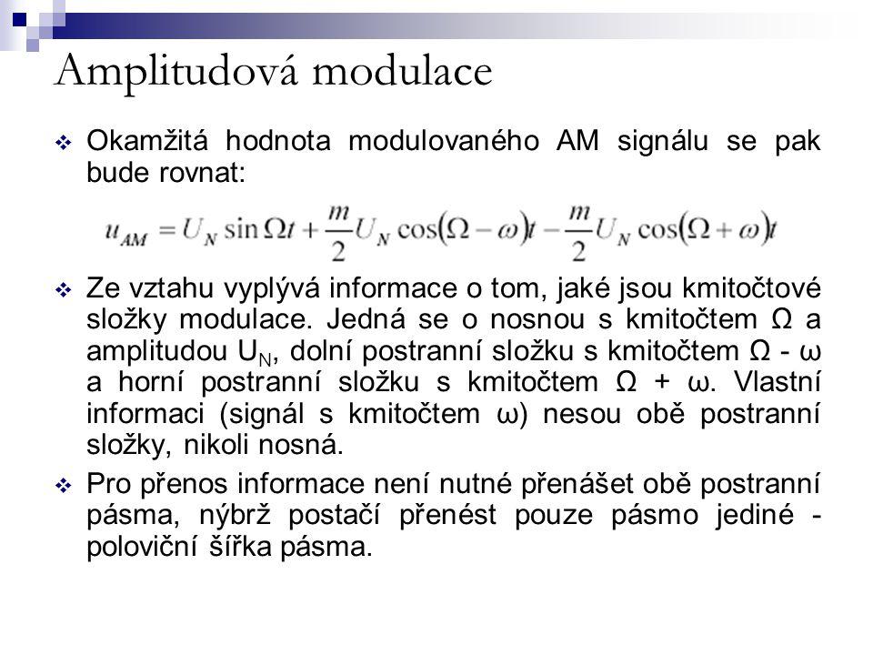Amplitudová modulace  Okamžitá hodnota modulovaného AM signálu se pak bude rovnat:  Ze vztahu vyplývá informace o tom, jaké jsou kmitočtové složky m