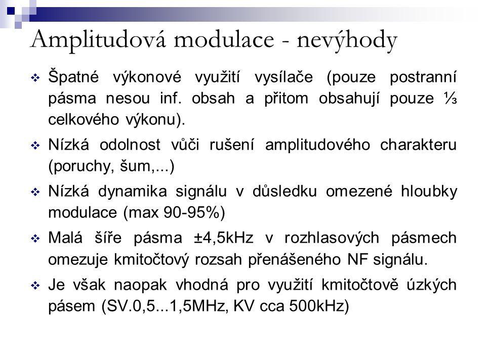 Amplitudová modulace - nevýhody  Špatné výkonové využití vysílače (pouze postranní pásma nesou inf. obsah a přitom obsahují pouze ⅓ celkového výkonu)