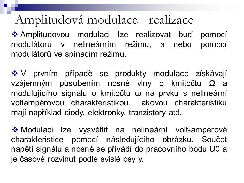 Amplitudová modulace - realizace  Amplitudovou modulaci lze realizovat buď pomocí modulátorů v nelineárním režimu, a nebo pomocí modulátorů ve spínac
