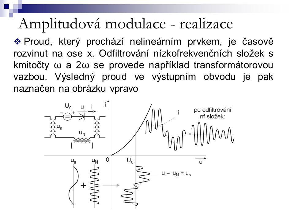Amplitudová modulace - realizace  Proud, který prochází nelineárním prvkem, je časově rozvinut na ose x. Odfiltrování nízkofrekvenčních složek s kmit