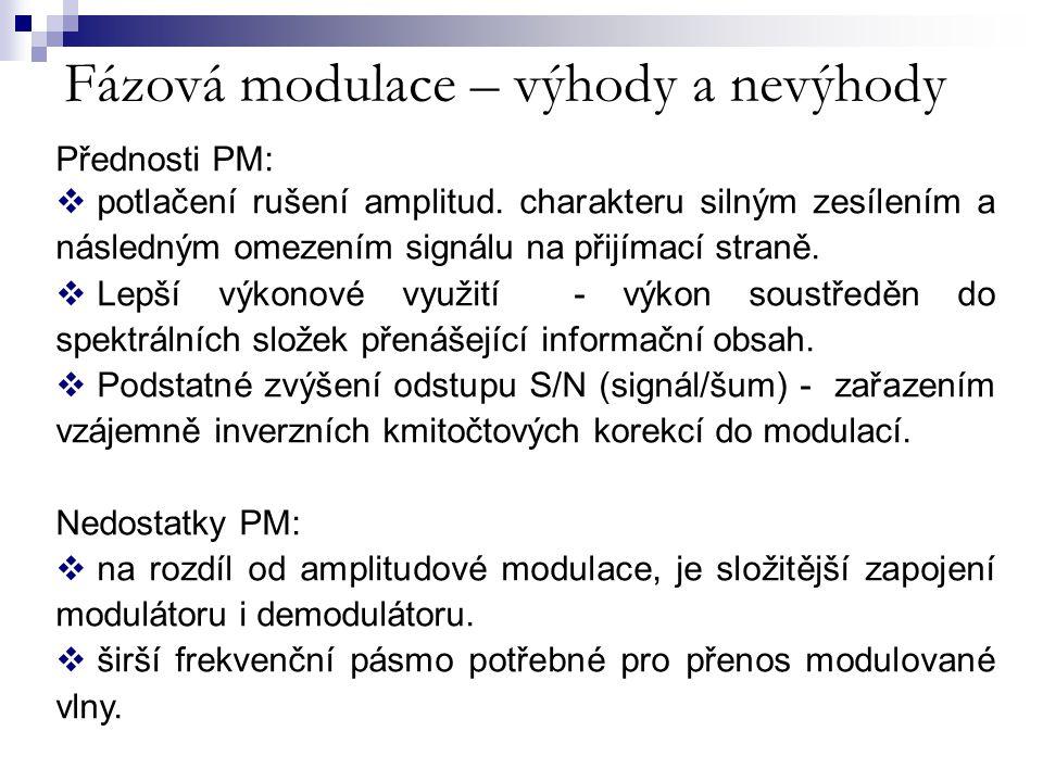 Fázová modulace – výhody a nevýhody Přednosti PM:  potlačení rušení amplitud. charakteru silným zesílením a následným omezením signálu na přijímací s