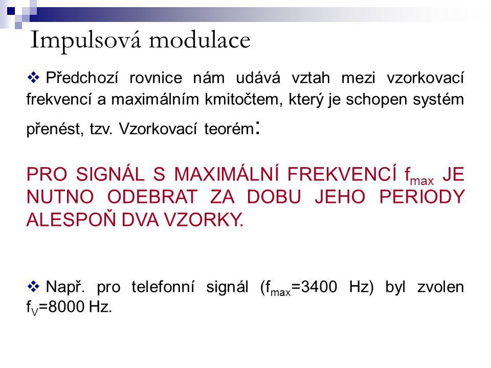 Impulsová modulace  Předchozí rovnice nám udává vztah mezi vzorkovací frekvencí a maximálním kmitočtem, který je schopen systém přenést, tzv. Vzorkov