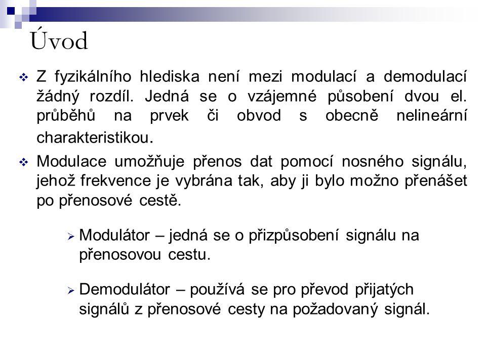 Úvod  Z fyzikálního hlediska není mezi modulací a demodulací žádný rozdíl. Jedná se o vzájemné působení dvou el. průběhů na prvek či obvod s obecně n