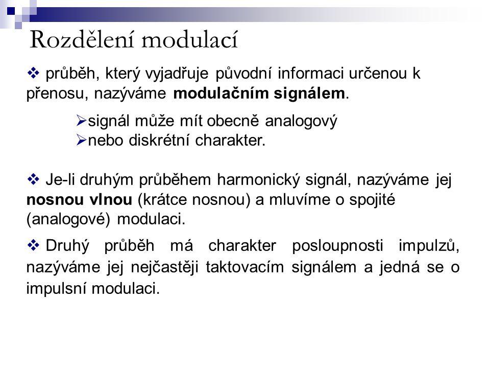 Rozdělení modulací  průběh, který vyjadřuje původní informaci určenou k přenosu, nazýváme modulačním signálem.  signál může mít obecně analogový  n