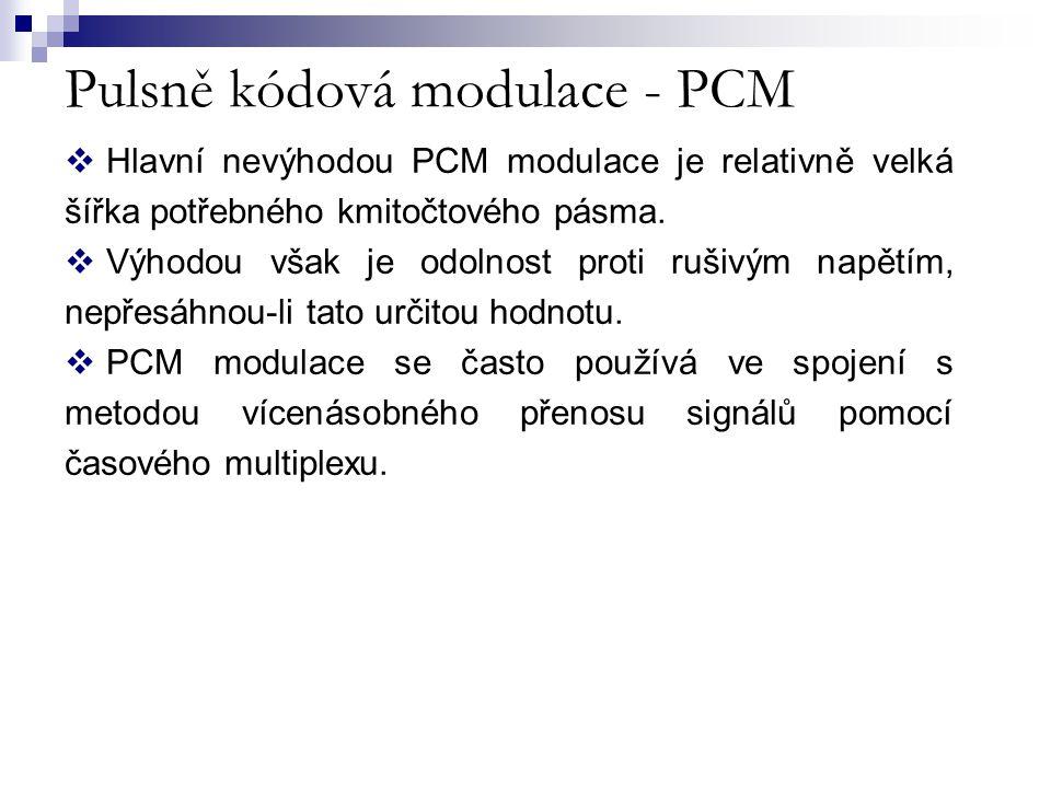  Hlavní nevýhodou PCM modulace je relativně velká šířka potřebného kmitočtového pásma.  Výhodou však je odolnost proti rušivým napětím, nepřesáhnou-
