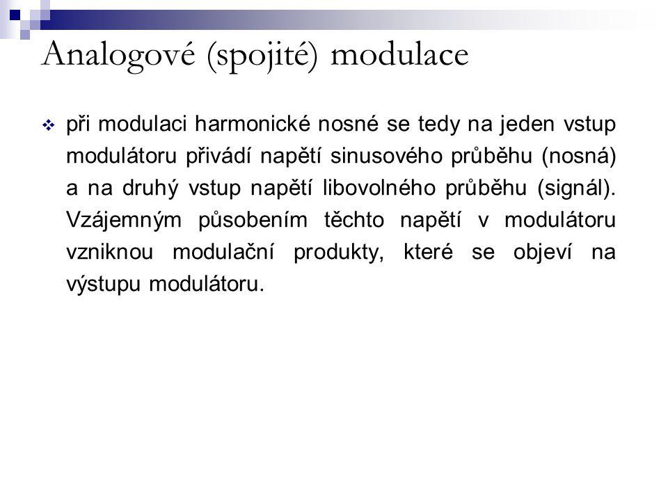 Analogové (spojité) modulace Spojité modulace ( s harmonickou nosnou) Amplitudová (AM) Frekvenční (FM) Fázová (PM) Úhlová (FM a PM)