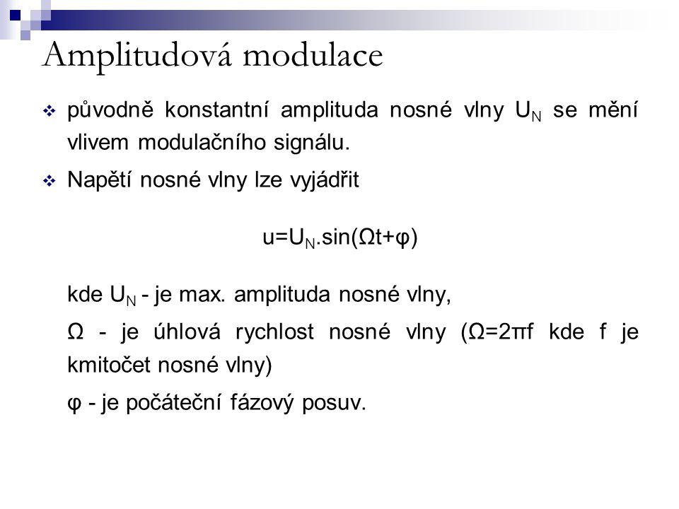 Amplitudová modulace Předpoklady:  u M = U M sinωt (u M = okamžitá hodnota modulačního signálu )  u N = U N sinΩt (u N = okamžitá hodnota nosného signálu ) platí ω<<Ω (modulační signál<<nosná)  maximální hodnota každého kmitu AM signálu  m= U M / U N - poměr amplitudy signálu k amplitudě nosné, je nazýván hloubka modulace.