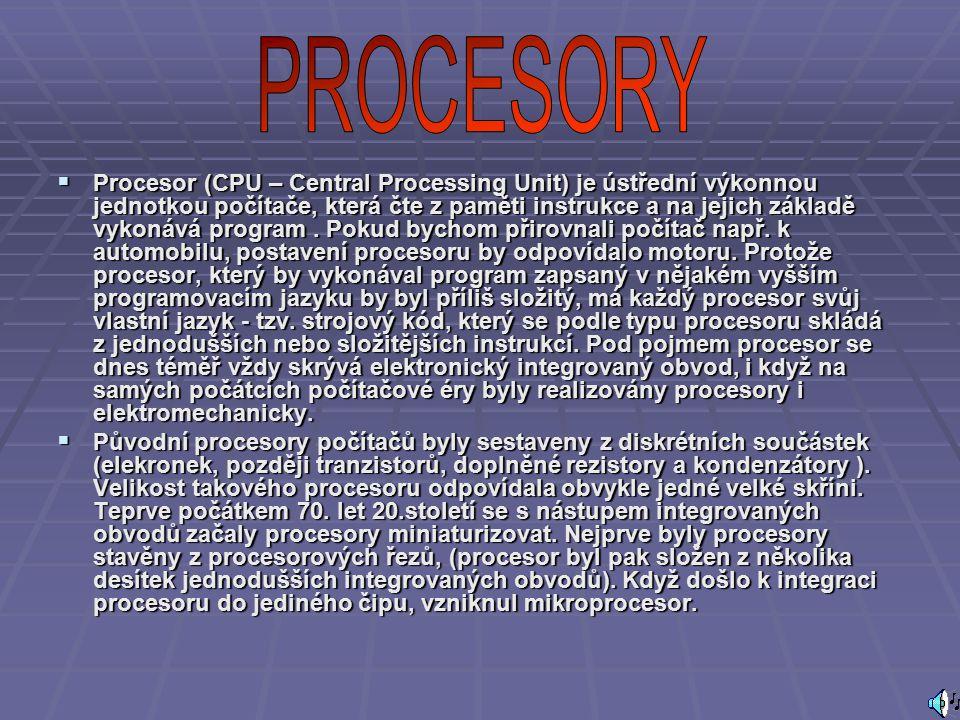  První částí je řadič nebo řídicí jednotka, jejíž jádro zajišťuje řízení činnosti procesoru v návaznosti na povely programu, tj.