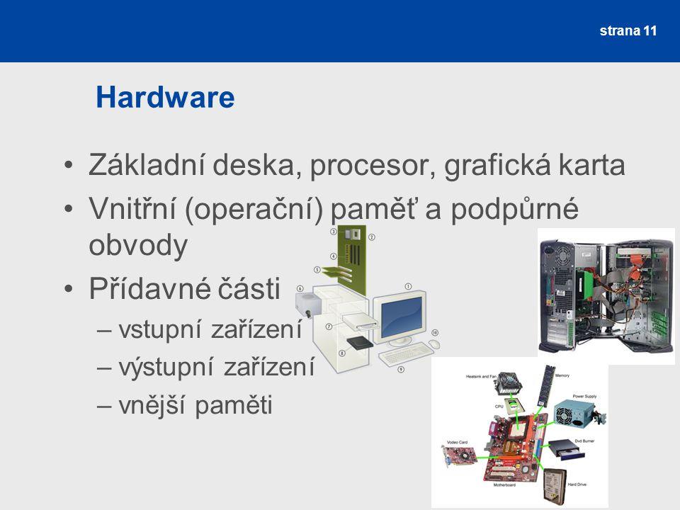 Hardware Základní deska, procesor, grafická karta Vnitřní (operační) paměť a podpůrné obvody Přídavné části –vstupní zařízení –výstupní zařízení –vněj