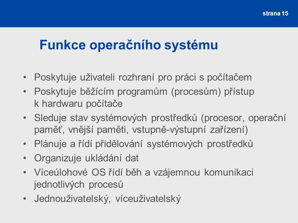 Funkce operačního systému Poskytuje uživateli rozhraní pro práci s počítačem Poskytuje běžícím programům (procesům) přístup k hardwaru počítače Sleduj