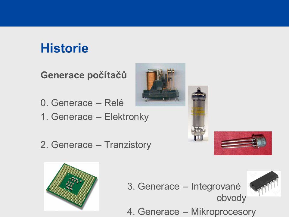 Historie Generace počítačů 0. Generace – Relé 1. Generace – Elektronky 2. Generace – Tranzistory 3. Generace – Integrované obvody 4. Generace – Mikrop