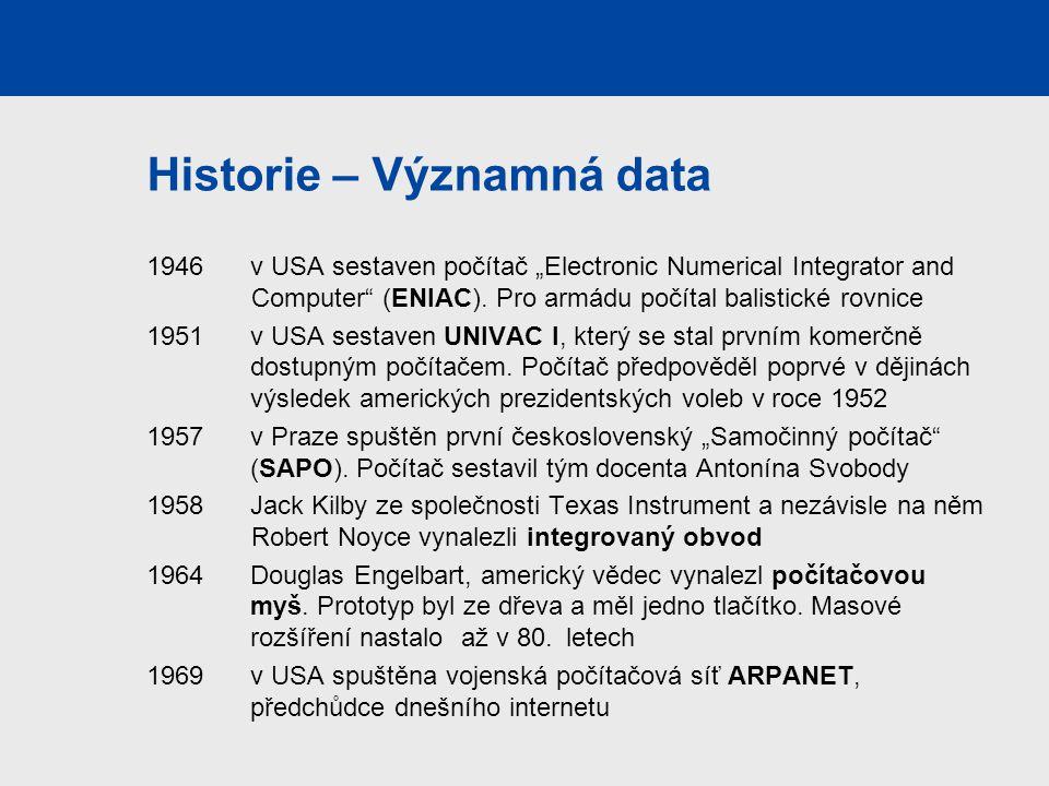 """Historie – Významná data 1946 v USA sestaven počítač """"Electronic Numerical Integrator and Computer"""" (ENIAC). Pro armádu počítal balistické rovnice 195"""