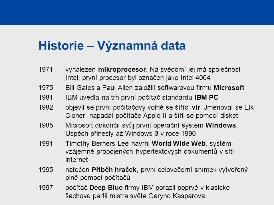 Historie – Významná data 1971 vynalezen mikroprocesor. Na svědomí jej má společnost Intel, první procesor byl označen jako Intel 4004 1975 Bill Gates