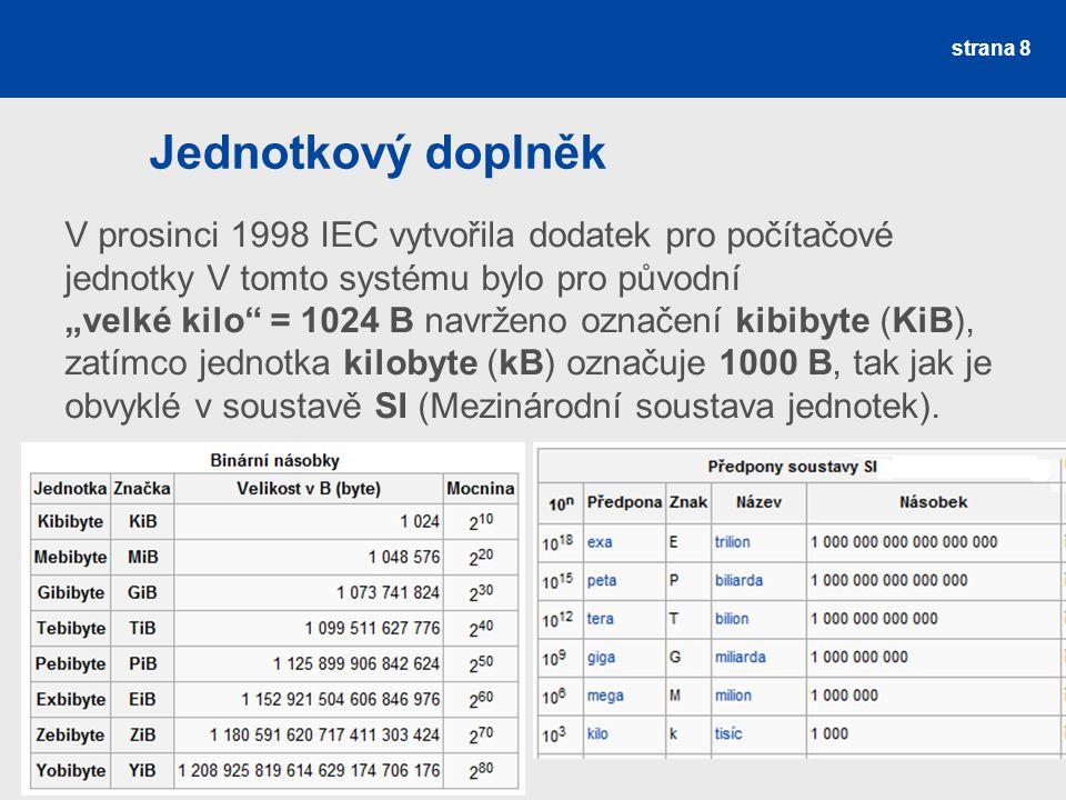 """Jednotkový doplněk V prosinci 1998 IEC vytvořila dodatek pro počítačové jednotky V tomto systému bylo pro původní """"velké kilo"""" = 1024 B navrženo označ"""