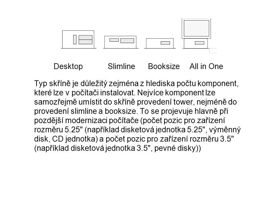 Desktop Slimline Booksize All in One Typ skříně je důležitý zejména z hlediska počtu komponent, které lze v počítači instalovat. Nejvíce komponent lze