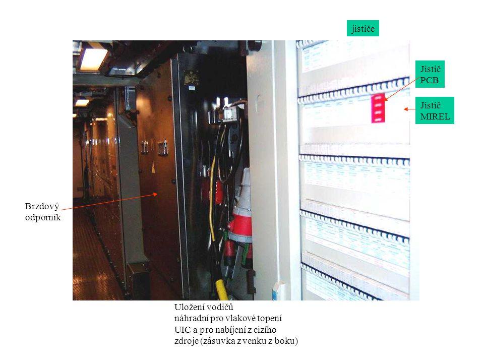 jističe Jistič MIREL Uložení vodičů náhradní pro vlakové topení UIC a pro nabíjení z cizího zdroje (zásuvka z venku z boku) Brzdový odporník Jistič PCB