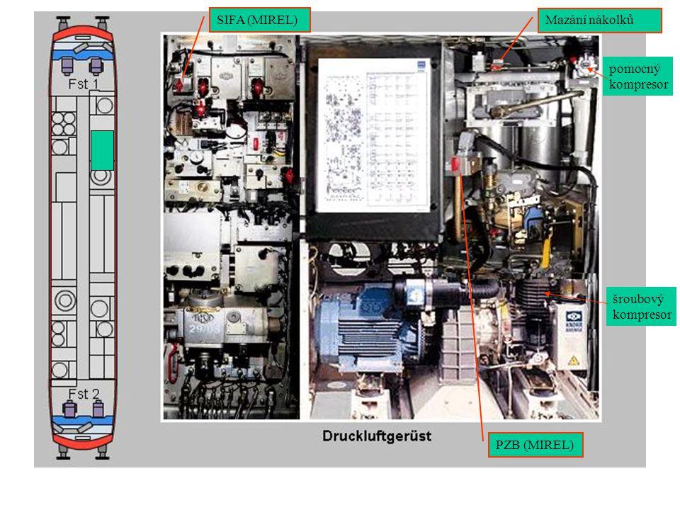 Mazání nákolků PZB (MIREL) SIFA (MIREL) šroubový kompresor pomocný kompresor