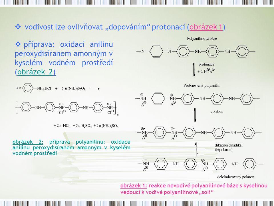 """ vodivost lze ovlivňovat """"dopováním"""" protonací (obrázek 1) obrázek 1: reakce nevodivé polyanilinové báze s kyselinou vedoucí k vodivé polyanilinové """""""