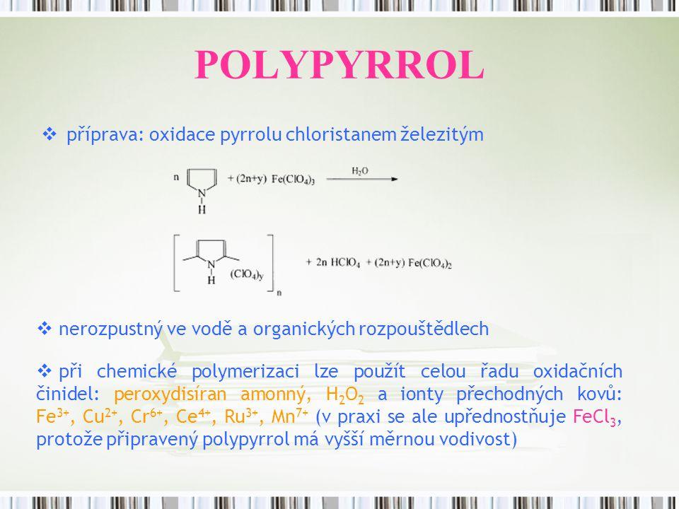 POLYPYRROL  příprava: oxidace pyrrolu chloristanem železitým  nerozpustný ve vodě a organických rozpouštědlech  při chemické polymerizaci lze použí