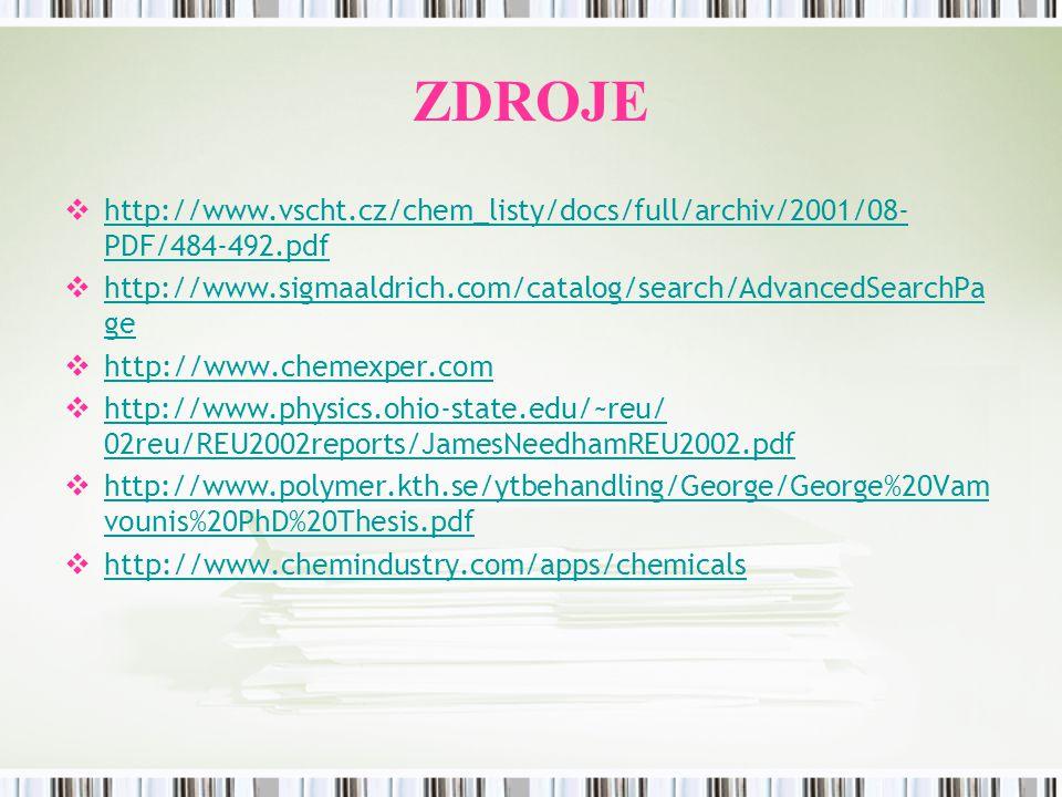 ZDROJE hhttp://www.vscht.cz/chem_listy/docs/full/archiv/2001/08- PDF/484-492.pdf hhttp://www.sigmaaldrich.com/catalog/search/AdvancedSearchPa ge 