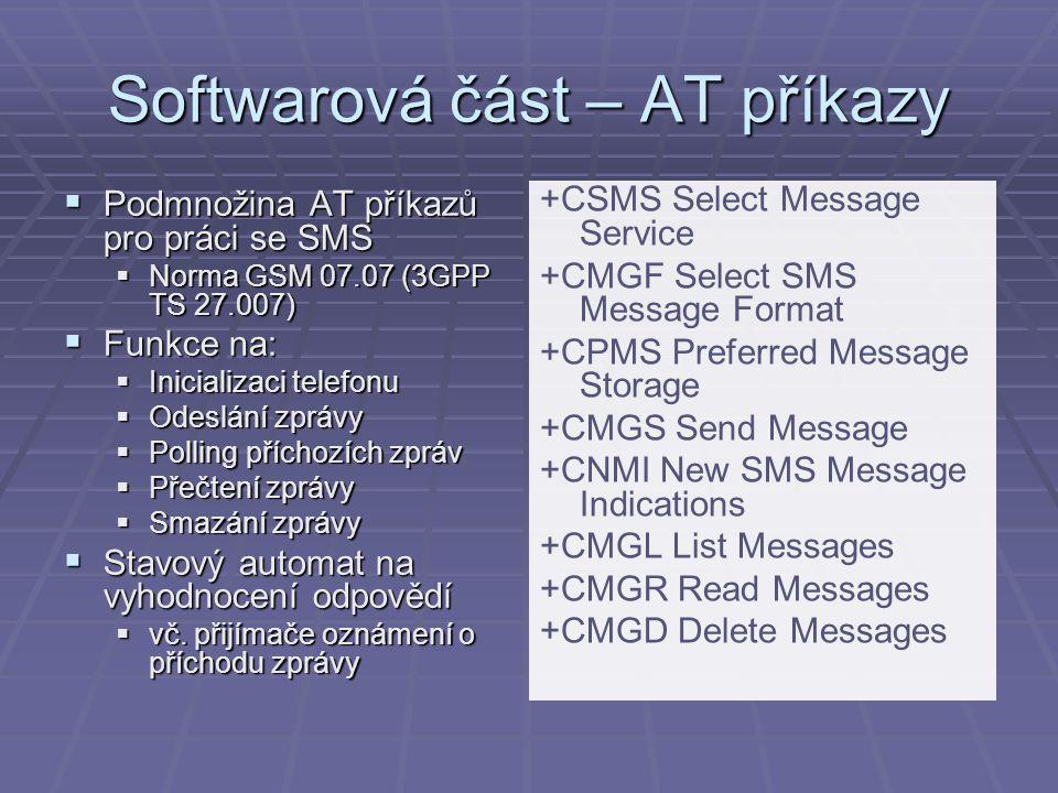 Softwarová část – AT příkazy  Podmnožina AT příkazů pro práci se SMS  Norma GSM 07.07 (3GPP TS 27.007)  Funkce na:  Inicializaci telefonu  Odeslá