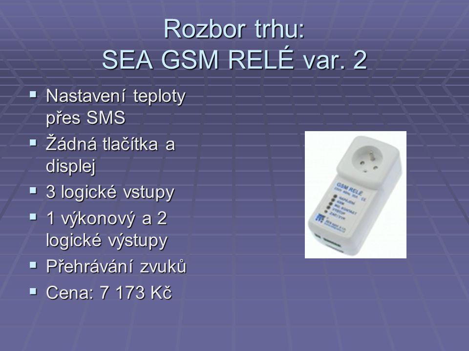 Rozbor trhu: SEA GSM RELÉ var. 2  Nastavení teploty přes SMS  Žádná tlačítka a displej  3 logické vstupy  1 výkonový a 2 logické výstupy  Přehráv