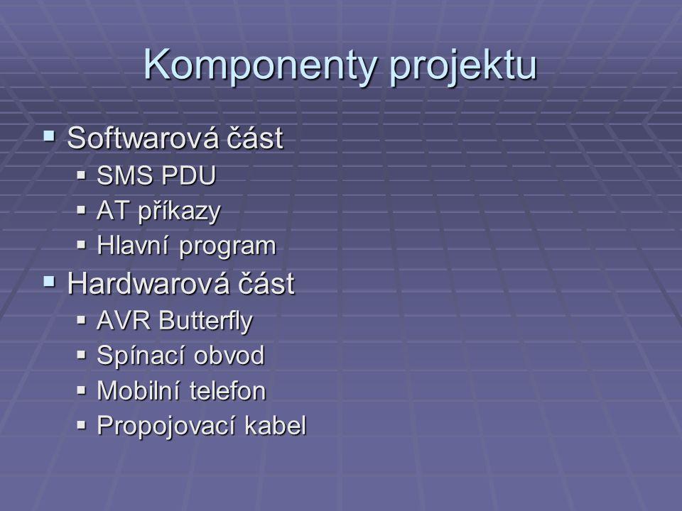 Komponenty projektu  Softwarová část  SMS PDU  AT příkazy  Hlavní program  Hardwarová část  AVR Butterfly  Spínací obvod  Mobilní telefon  Pr