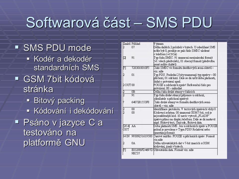 Softwarová část – SMS PDU  SMS PDU mode  Kodér a dekodér standardních SMS  GSM 7bit kódová stránka  Bitový packing  Kódování i dekódování  Psáno