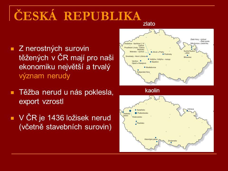 ČESKÁ REPUBLIKA Z nerostných surovin těžených v ČR mají pro naši ekonomiku největší a trvalý význam nerudy Těžba nerud u nás poklesla, export vzrostl V ČR je 1436 ložisek nerud (včetně stavebních surovin) zlato kaolin