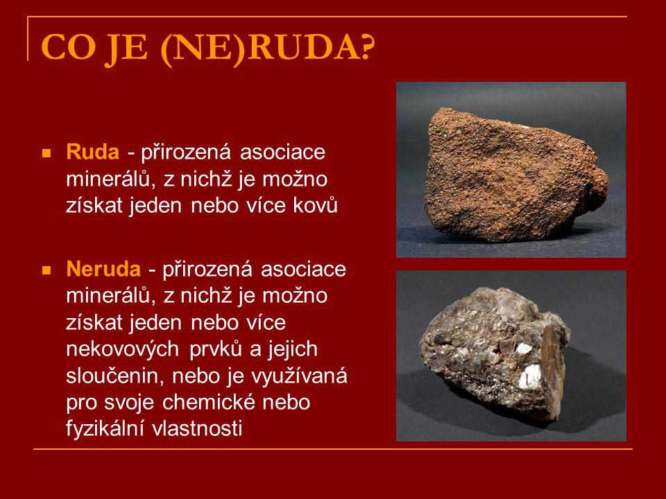 CO JE (NE)RUDA? Ruda - přirozená asociace minerálů, z nichž je možno získat jeden nebo více kovů Neruda - přirozená asociace minerálů, z nichž je možn