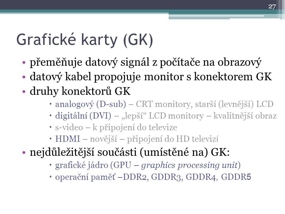 Grafické karty (GK) přeměňuje datový signál z počítače na obrazový datový kabel propojuje monitor s konektorem GK druhy konektorů GK  analogový (D-su