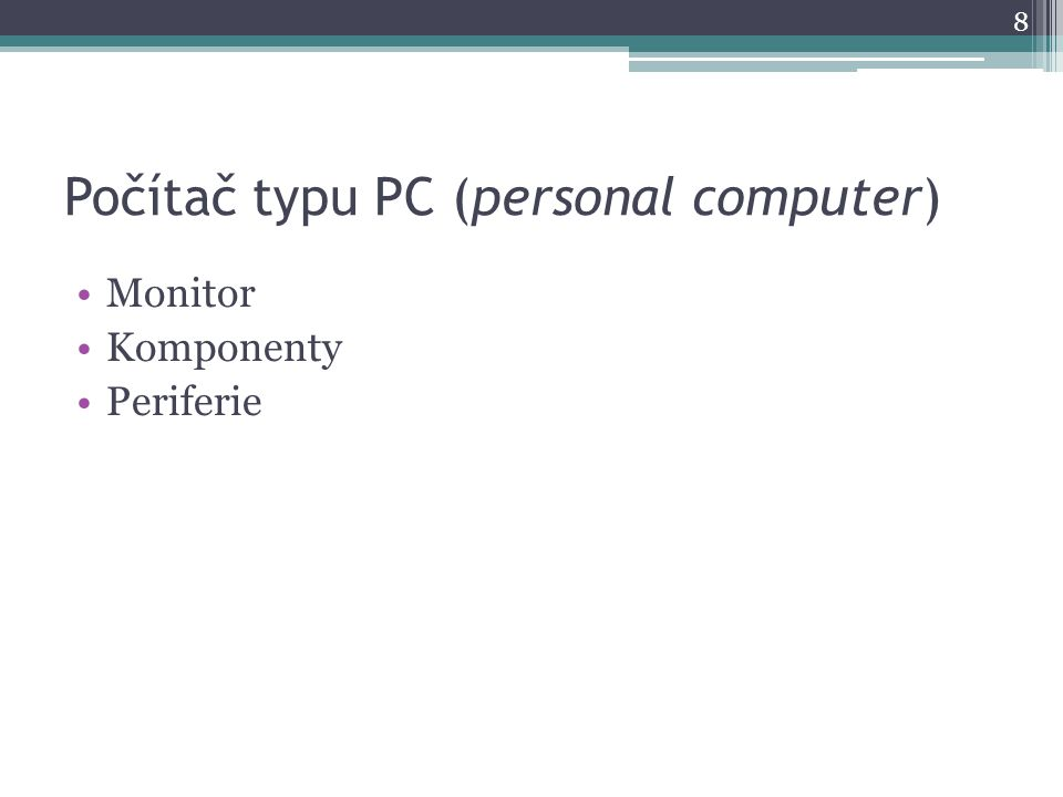 Monitor výstupní zařízení zobrazuje uživateli optický výstup z počítače 2 základní druhy:  CRT  LCD (novější) ne j důležitější parametry:  velikost úhlopříčky - v palcích (15'', 19'', 22''..)  rozlišení obrazu - v pixelech (1280x1024, 1920x1080)  poměr stran - 4:3, 16:10, 16:9  frekvence obnovení obrazu (v Hz)  druh panelu (u LCD)  Odezva - v milisekundách (u LCD) (2ms, 8ms, 16ms..)  Kontrast – číselný poměr (1:500, 1:20 000) 9