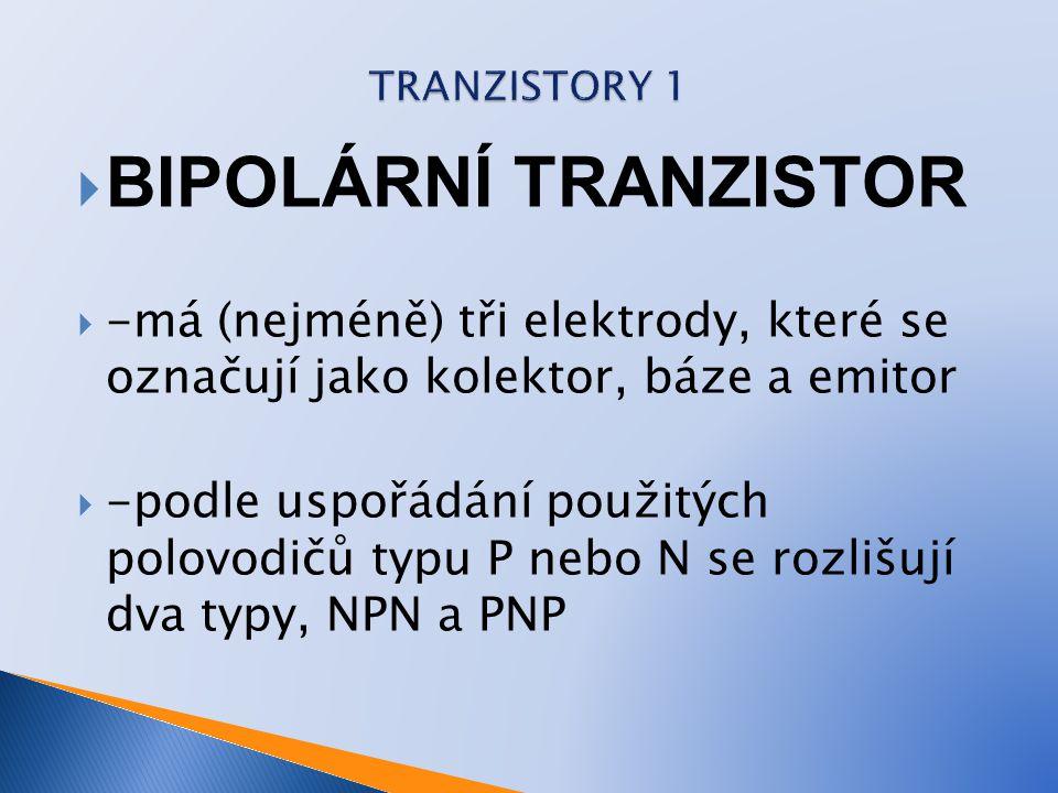  BIPOLÁRNÍ TRANZISTOR  -má (nejméně) tři elektrody, které se označují jako kolektor, báze a emitor  -podle uspořádání použitých polovodičů typu P n