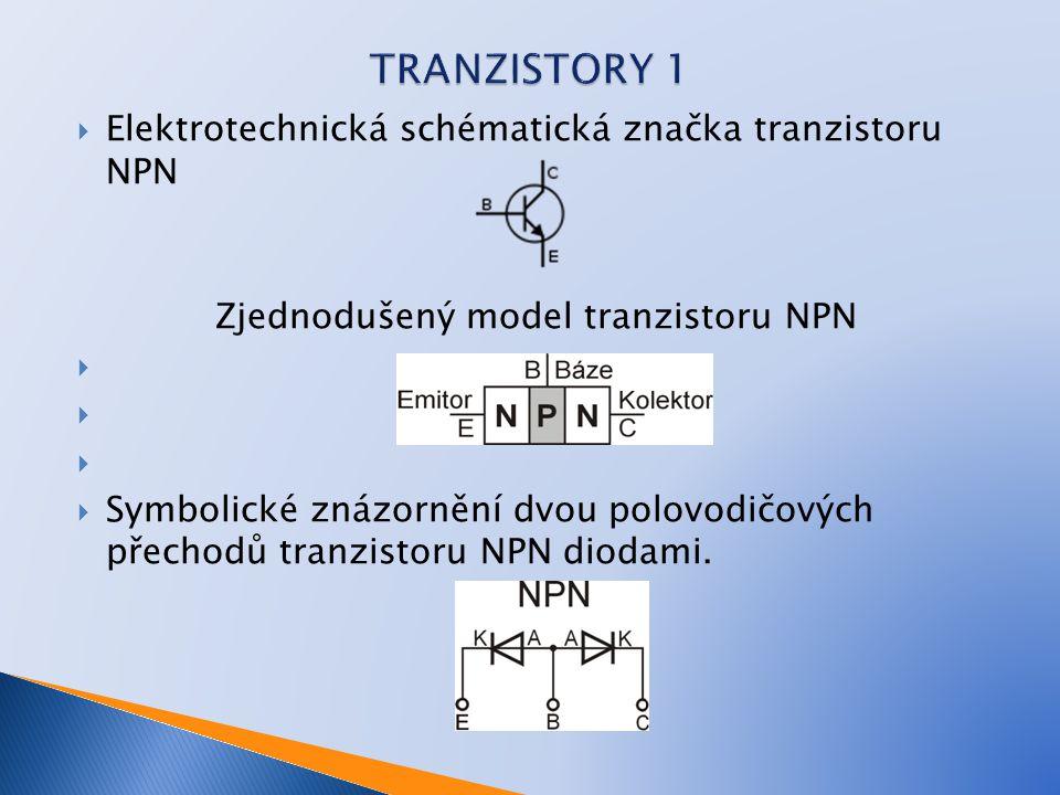  Elektrotechnická schématická značka tranzistoru NPN Zjednodušený model tranzistoru NPN   Symbolické znázornění dvou polovodičových přechodů tranzi