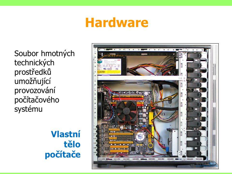 Soubor hmotných technických prostředků umožňující provozování počítačového systému Vlastní tělo počítače Hardware