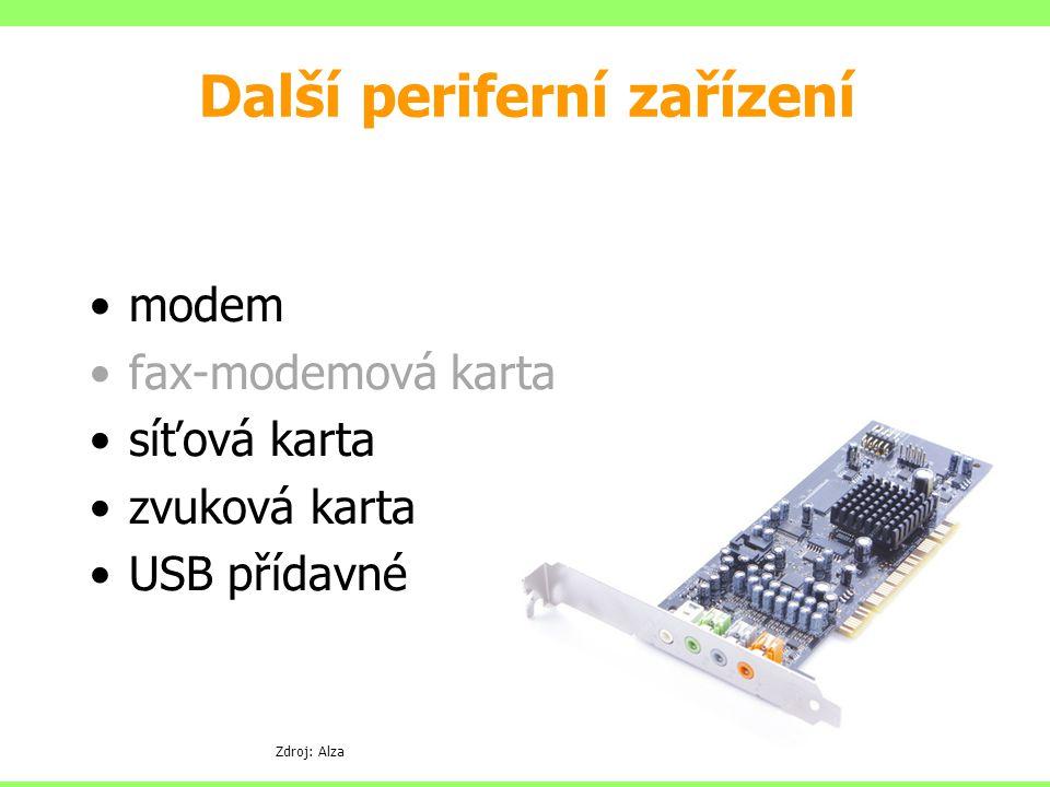 modem fax-modemová karta síťová karta zvuková karta USB přídavné Další periferní zařízení Zdroj: Alza
