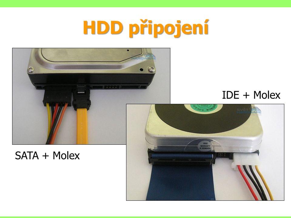 HDD připojení IDE + Molex SATA + Molex