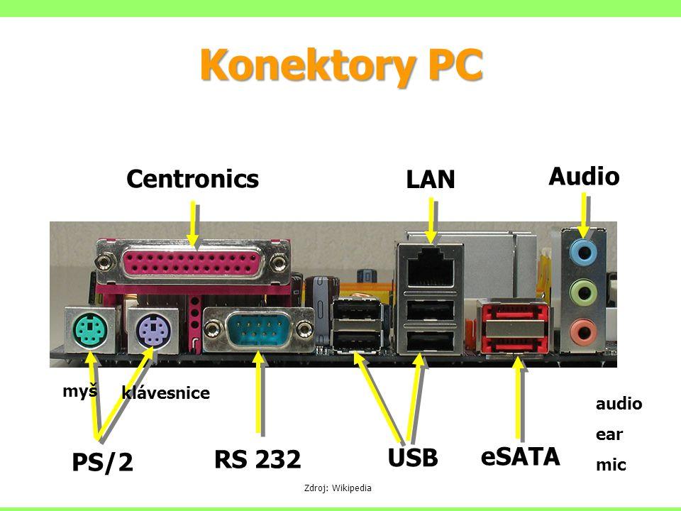 Konektory PC PS/2 RS 232 Centronics USB LAN Audio audio ear mic myš klávesnice Zdroj: Wikipedia eSATA