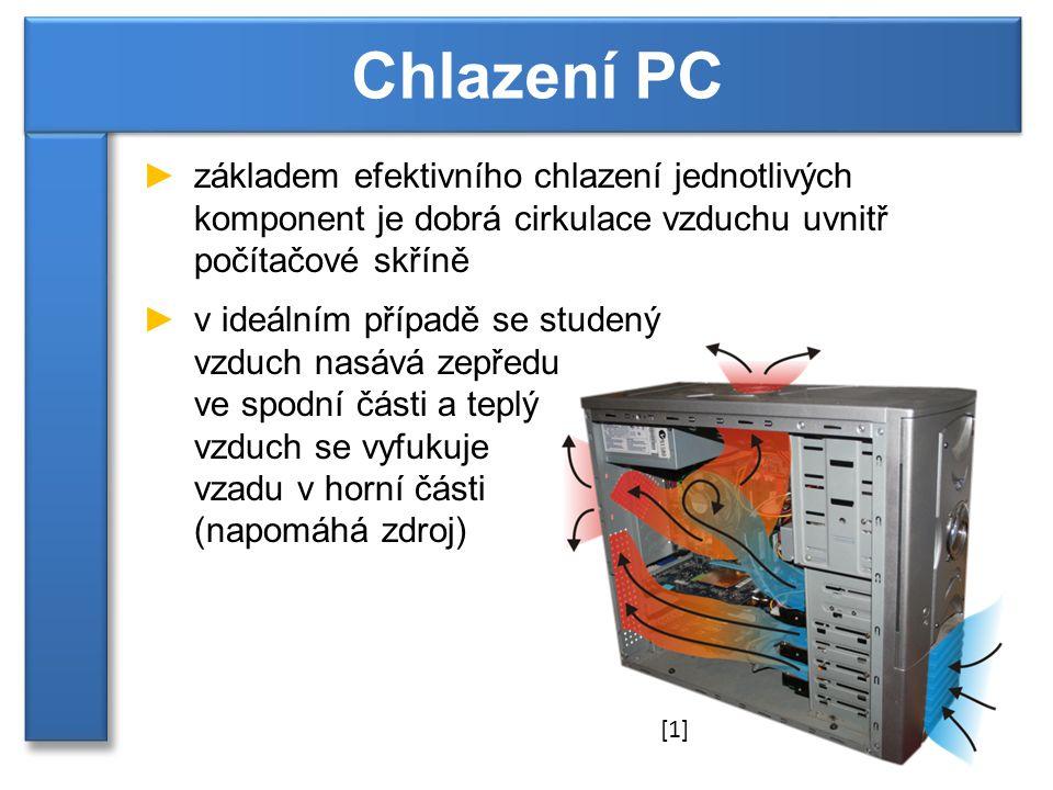 ►základem efektivního chlazení jednotlivých komponent je dobrá cirkulace vzduchu uvnitř počítačové skříně ►v ideálním případě se studený vzduch nasává