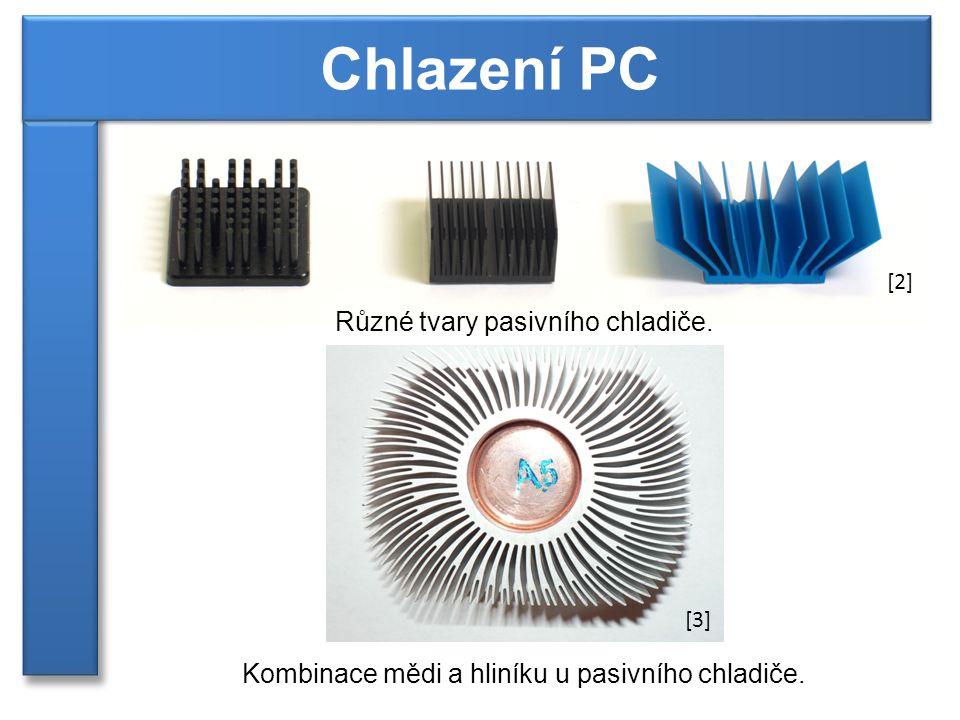Různé tvary pasivního chladiče. Kombinace mědi a hliníku u pasivního chladiče. [2] [3]