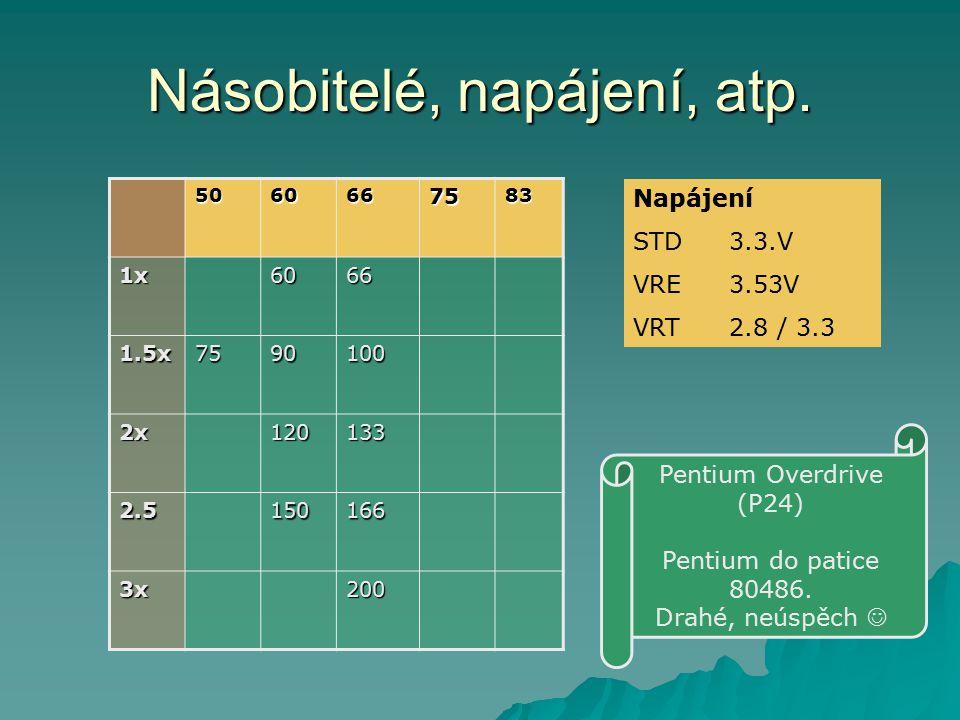 Násobitelé, napájení, atp. 5060667583 1x6066 1.5x7590100 2x120133 2.5150166 3x200 Napájení STD3.3.V VRE3.53V VRT2.8 / 3.3 Pentium Overdrive (P24) Pent