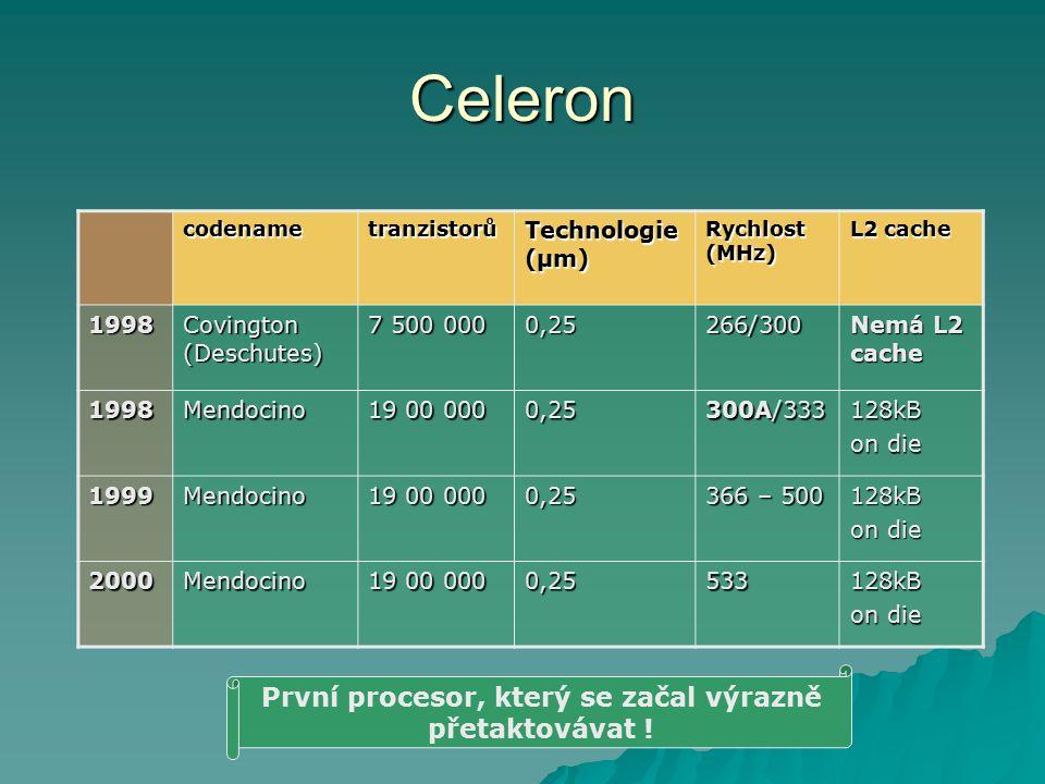 Celeron codenametranzistorů Technologie (µm) Rychlost (MHz) L2 cache 1998 Covington (Deschutes) 7 500 000 0,25266/300 Nemá L2 cache 1998Mendocino 19 0