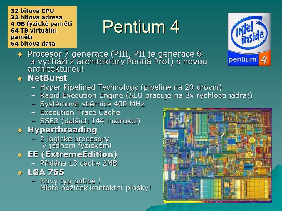 Pentium 4 PPPProcesor 7 generace (PIII, PII je generace 6 a vychází z architektury Pentia Pro!) s novou architekturou! NNNNetBurst –H–H–H–Hype
