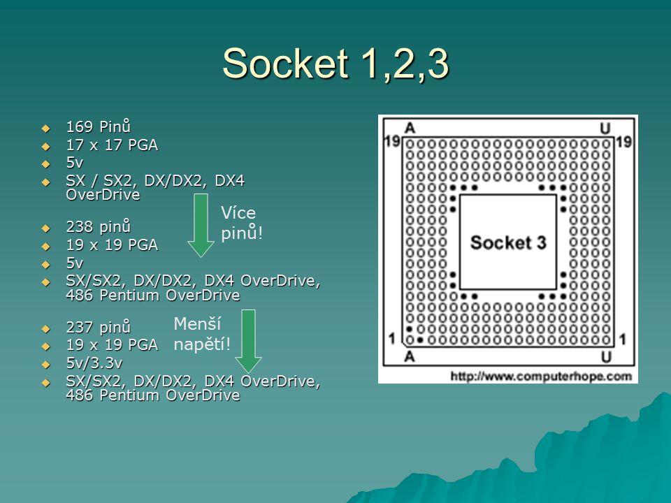 Socket 1,2,3  169 Pinů  17 x 17 PGA  5v  SX / SX2, DX/DX2, DX4 OverDrive  238 pinů  19 x 19 PGA  5v  SX/SX2, DX/DX2, DX4 OverDrive, 486 Pentiu